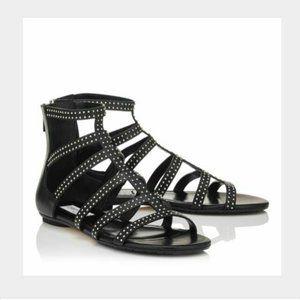 JIMMY CHOO Nix Vachetta Leather Gladiator Sandals